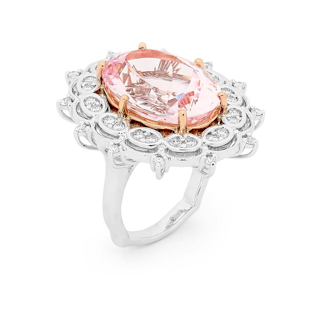 Linneys ring in white and rose gold with a central morganite and diamonds.