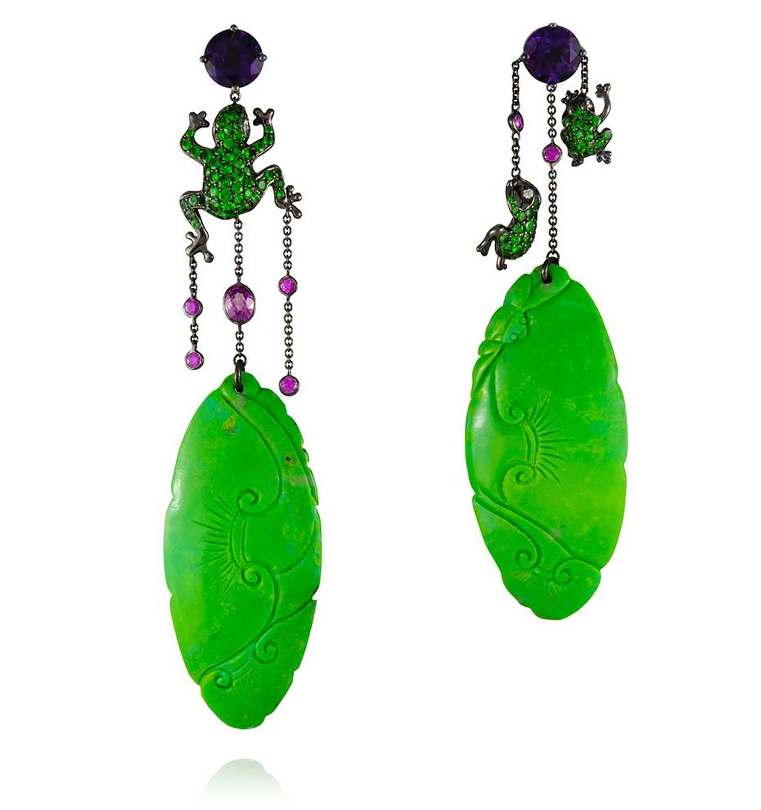 Lydia Courteille earrings in gold with green turquoise, amethysts and tsavorites.