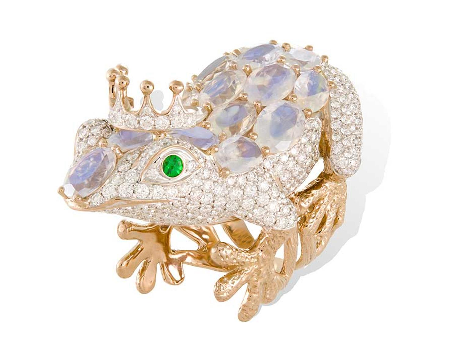 Lydia Courteille Frog ring in gold with diamonds, moonstones and emeralds for eyes.