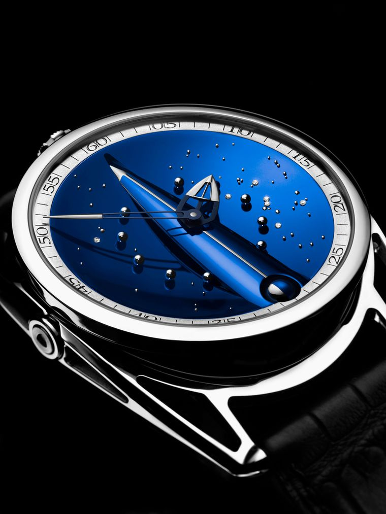 De Bethune Skybridge watch. Futuristic in its 43mm ultra-light titanium case, the DB28 offers the wearer a window on infinity with its intense blue dial representing a night sky of gold and diamond stars and a spherical Moon phase indicator at 6 o'clock.