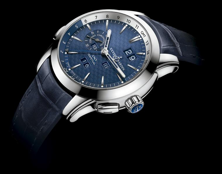Ulysse Nardin's Perpetual Calendar was the first perpetual calendar to allow forwards and backwards adjustments on the crown. Featuring a dual time function, the blue dial is decorated with a pattern of waves, very fitting for this brand which made its na