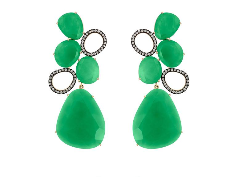 Christina Debs earrings in rose gold with chrysoprase and diamonds, from the Hard Candy collection.