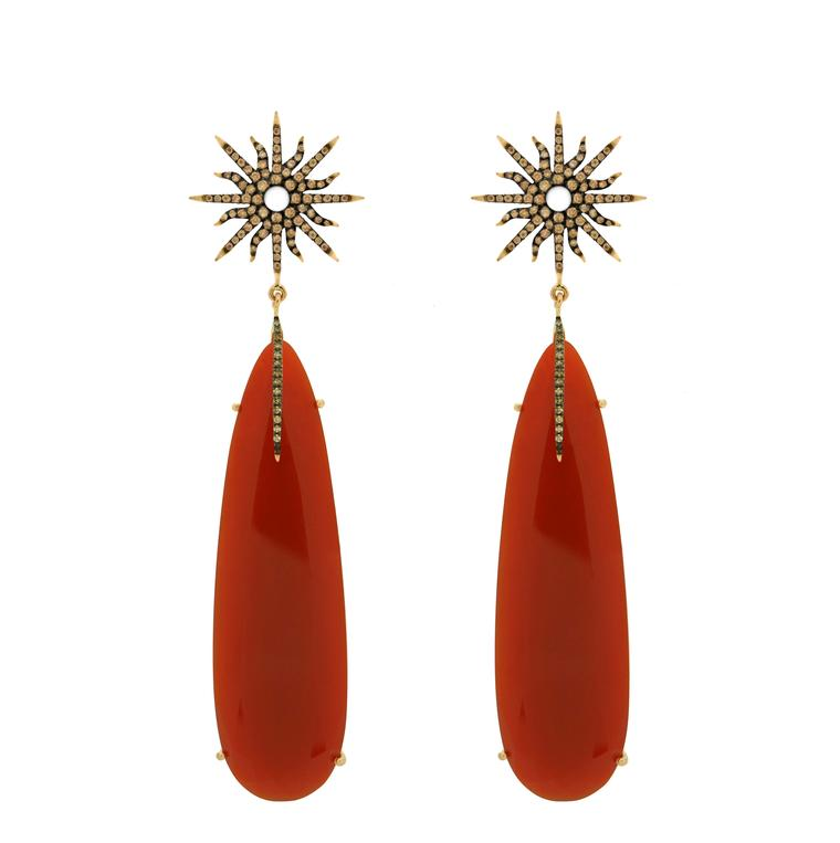 Christina Debs earrings with red agate and brown diamonds in rose gold, from the Sunshine collection.