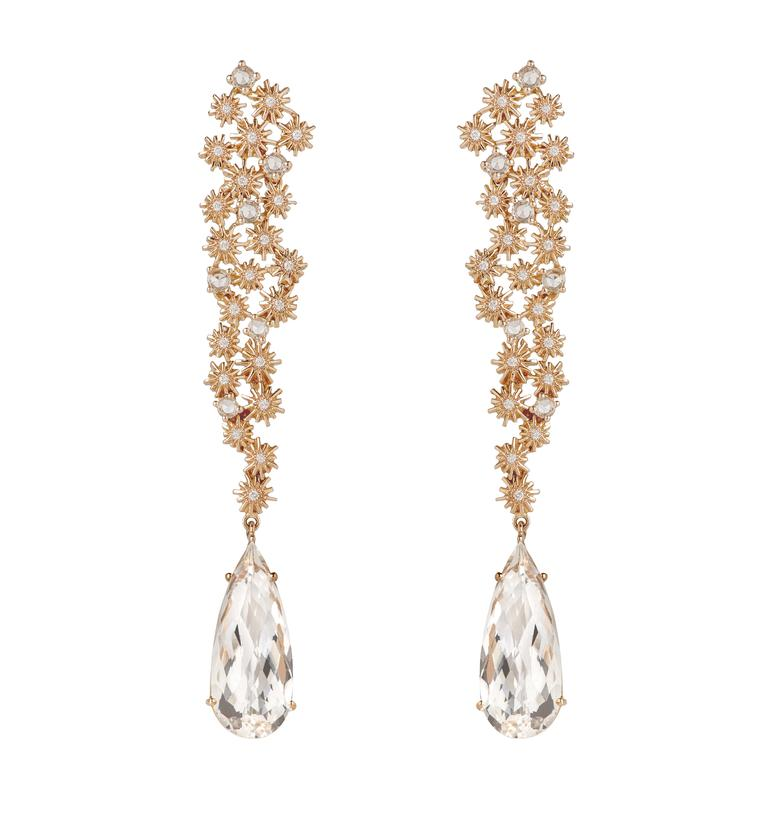 Christina Debs earrings with sapphires and white diamonds in pink gold, from the Crystalline collection.