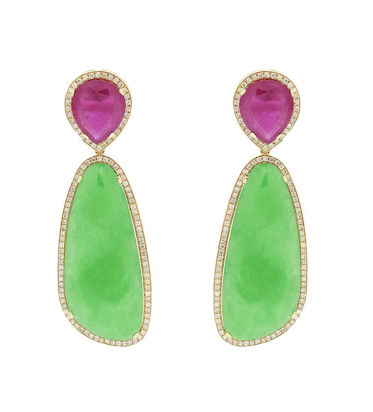 Christina Debs earrings with ruby, green jade and white diamonds set in rose gold, from the Hard Candy collection.