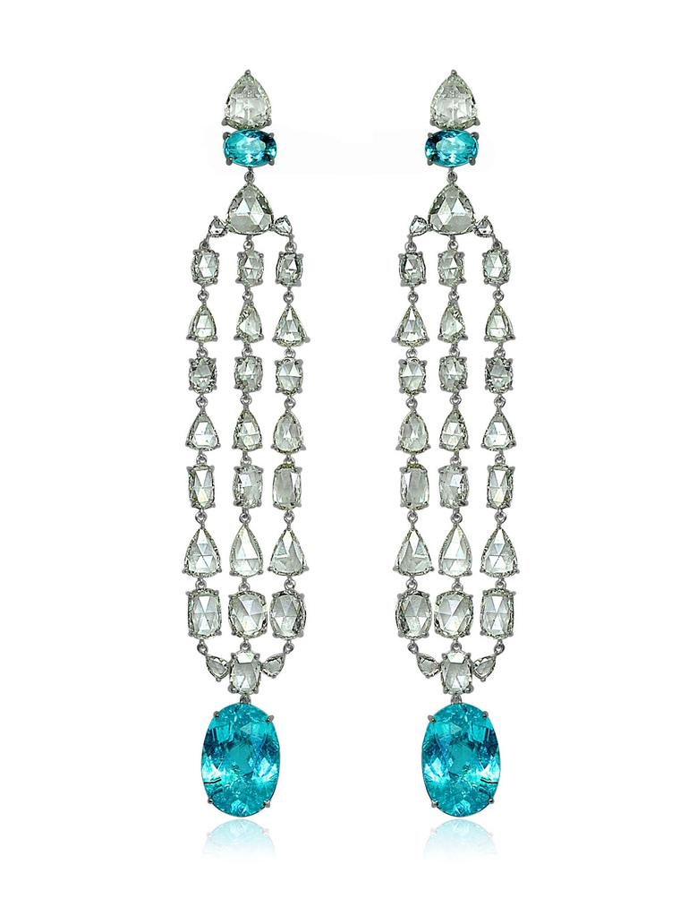 Sutra earrings with Paraiba tourmalines and rose-cut diamonds in white gold.