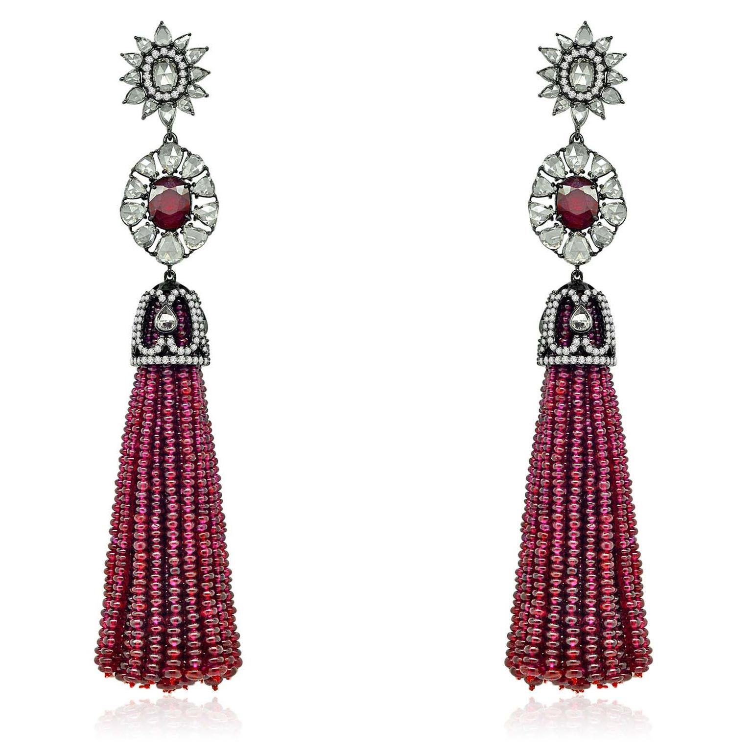 Sutra ruby bead tassel earrings with Burmese rubies and rose-cut diamonds in black gold.