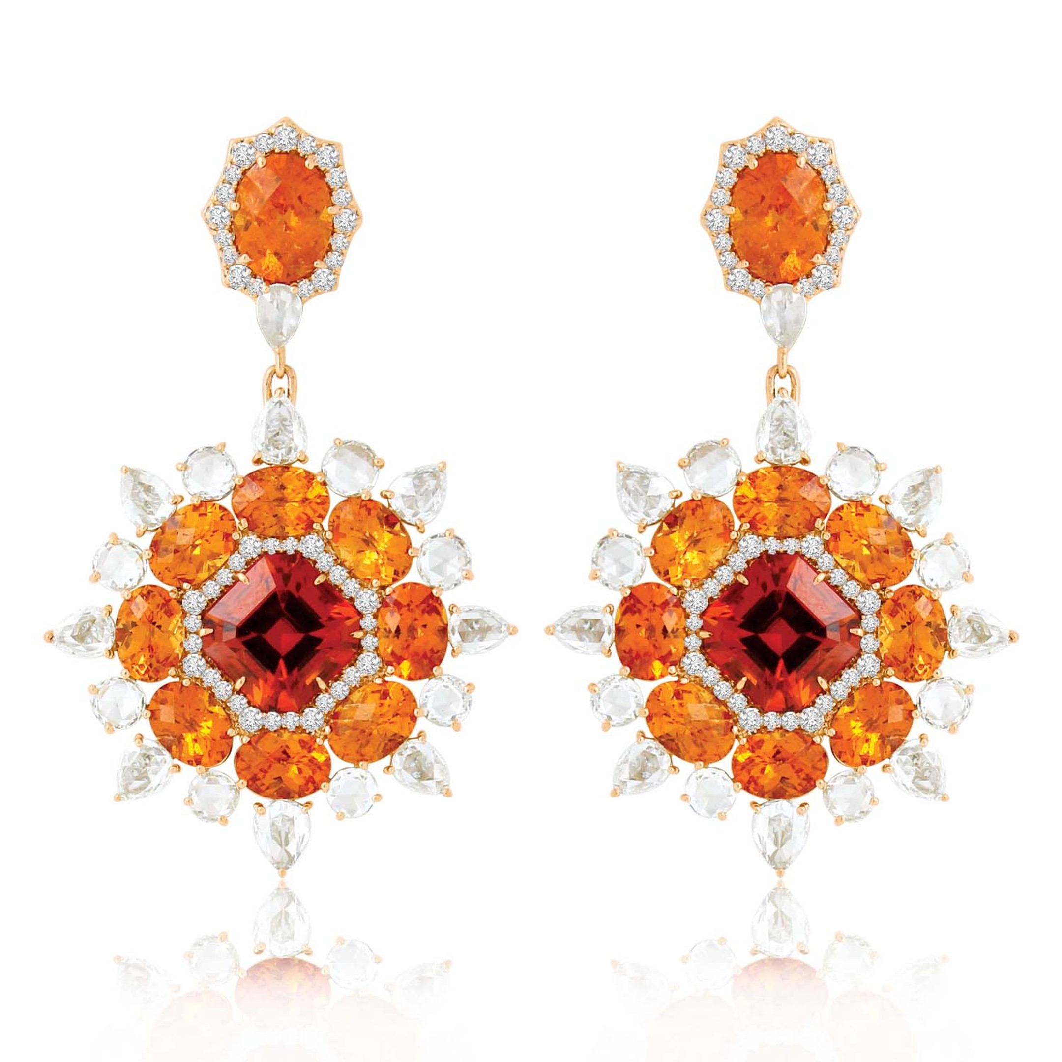 Sutra earrings with Mandarin garnets and diamonds in white gold.