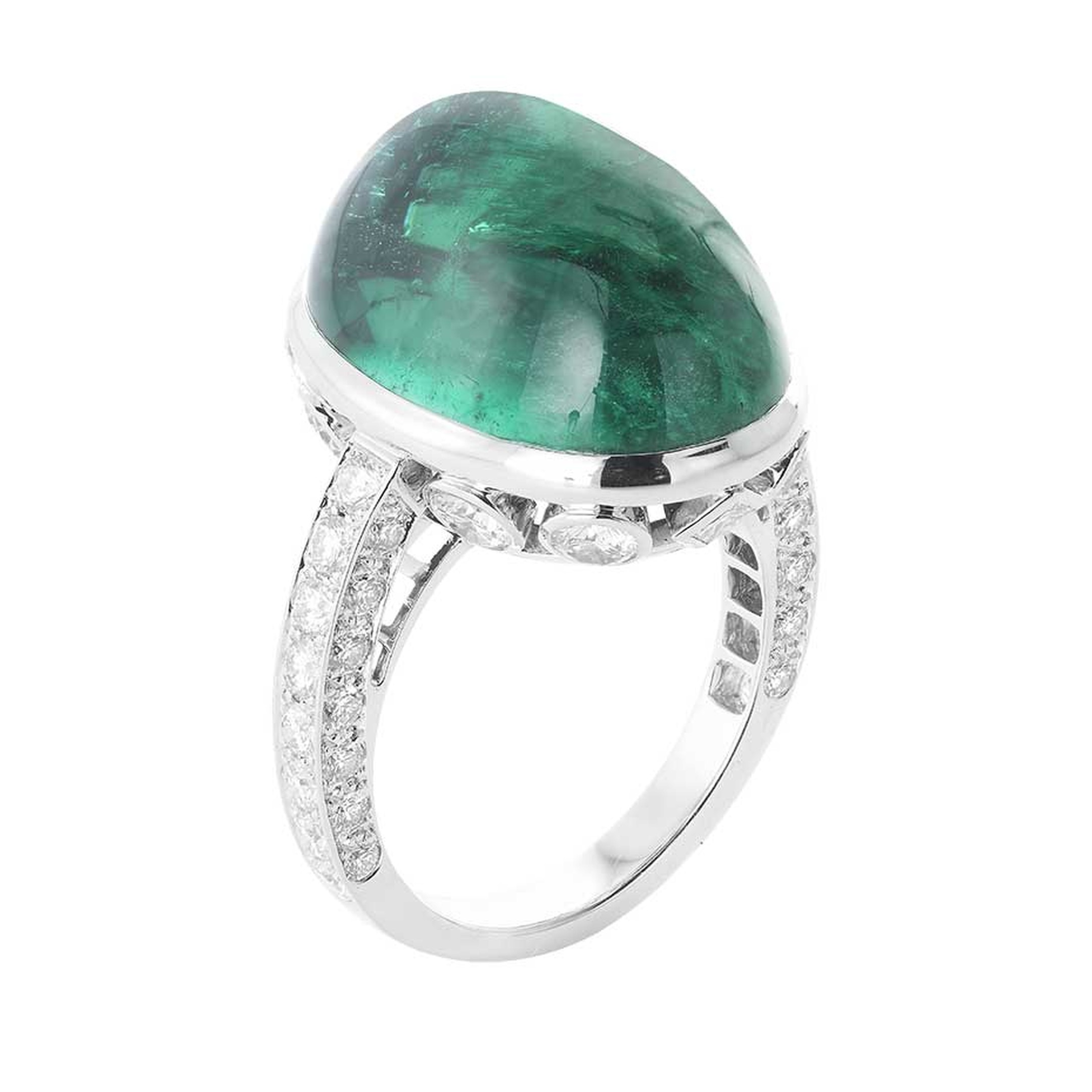 Boucheron Indian Palace ring, set with an emerald cabochon and diamonds.