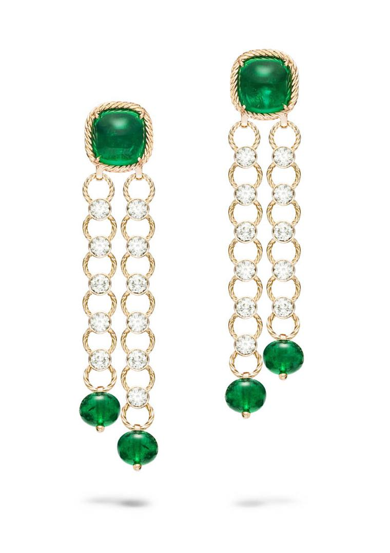 Extremely Piaget Earrings In Pink Gold, Set With Sugarloaf Emeralds,  Emerald Beads And Diamonds