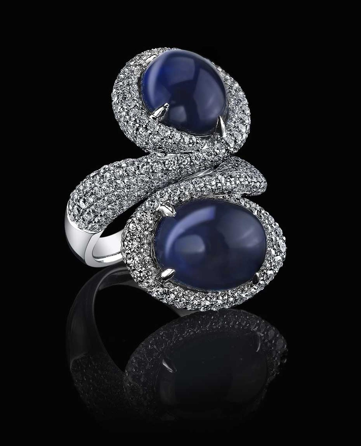 Robert Procop sapphire and diamond ring set with 14.21ct cabochon sapphires.