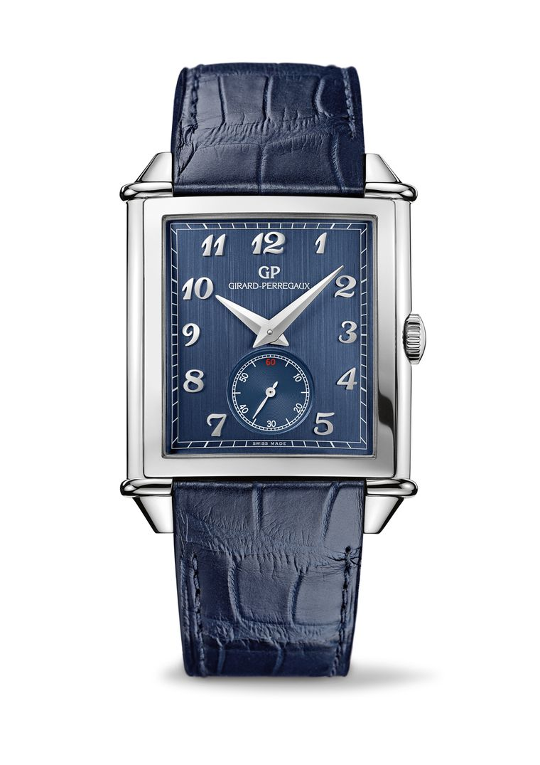 The Girard-Perregaux Vintage 1945 XXL watch with small seconds pays tribute to the brand's pioneering use of the colour blue on its dials towards the end of the 19th century.