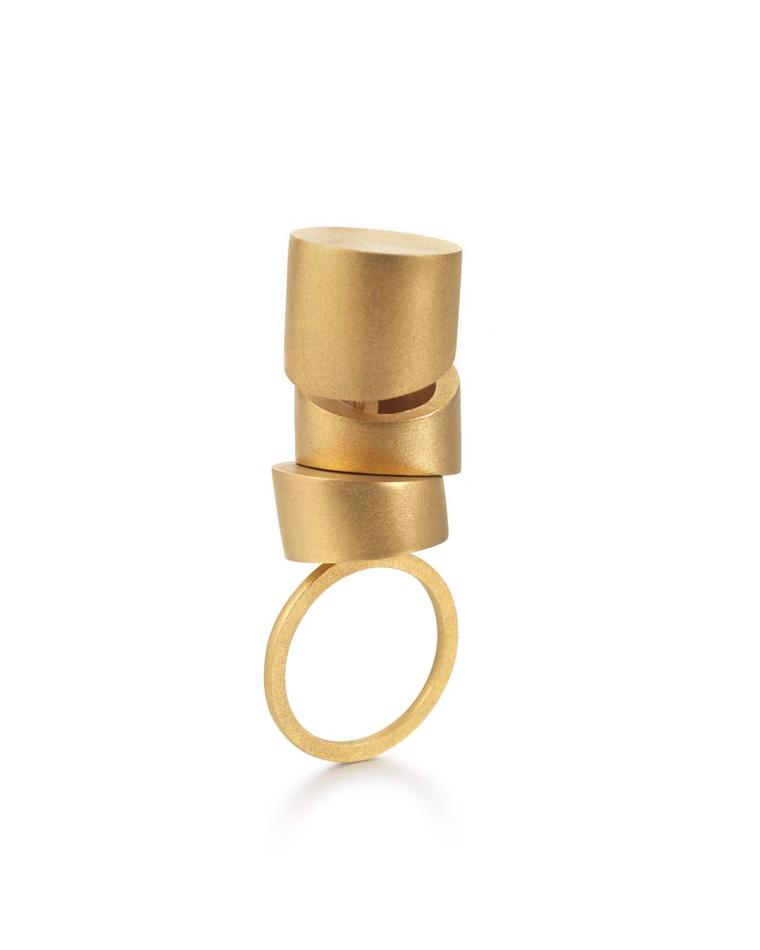 The Mara Irsara Three Times Straight gold ring selected by the internationally renowned architect Zaha Hadid for the Zaha Hadid Selects exhibit at the Goldsmiths' Fair in London this autumn.