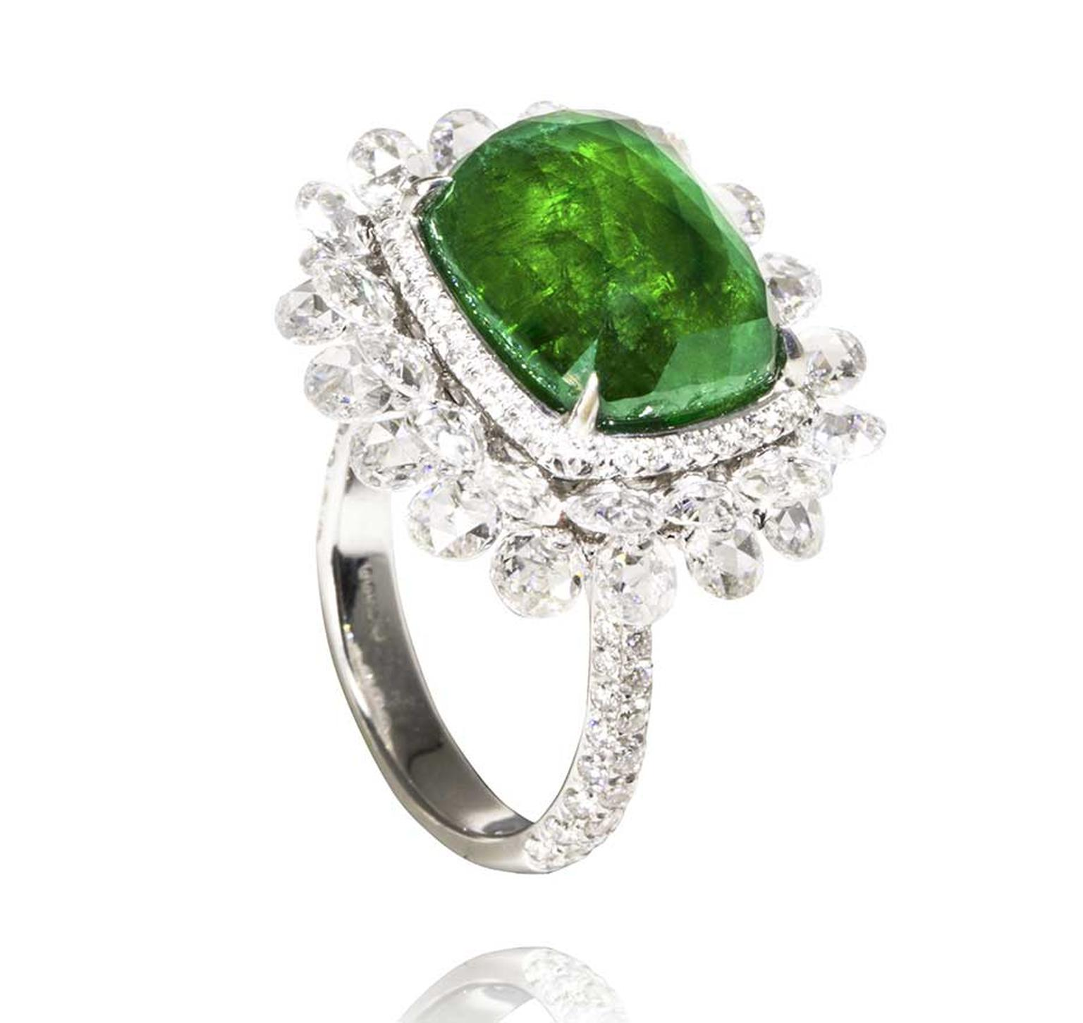 Amrapali emerald ring with diamonds in white gold.