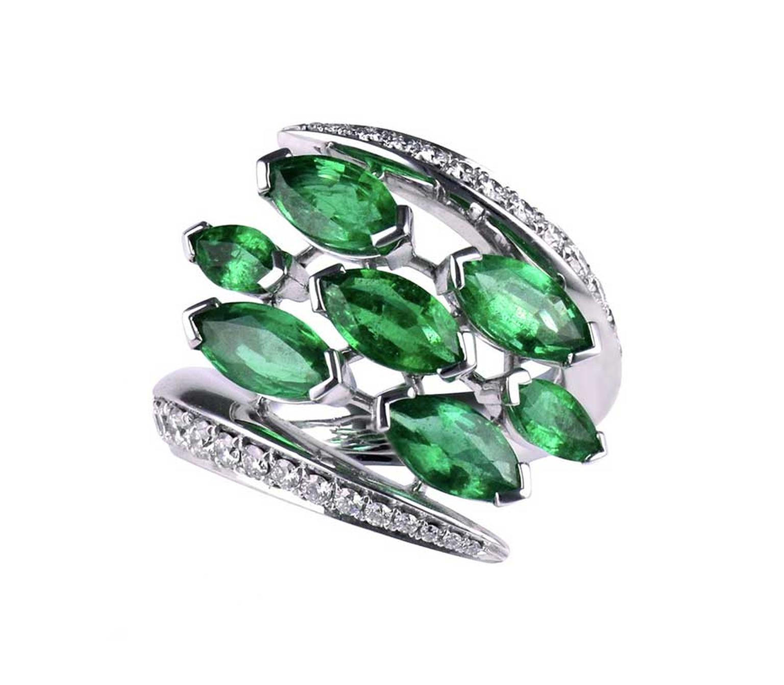 Shaun Leane Aerial emerald ring with diamonds.