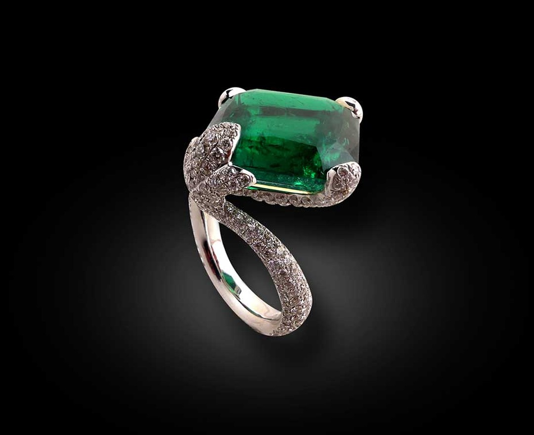 Star Diamond emerald ring, set with a rare 17.49ct Old Mine Colombian emerald and diamonds.