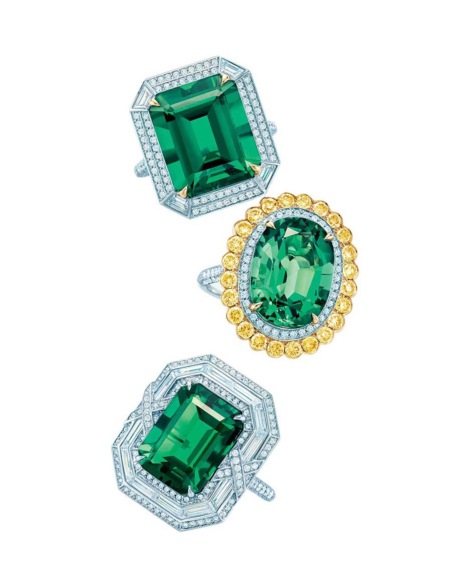 Top to bottom, Tiffany & Co. Blue Book Collection emerald ring with diamonds set in platinum and gold; emerald ring with white and yellow diamonds set in platinum and gold; and emerald ring with diamonds set in platinum.