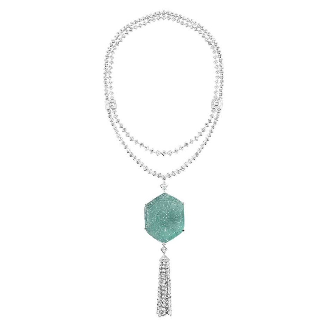 Boucheron Fleur des Indes tassel necklace set with a 188.79ct Moghul emerald dating from the 17th century and originating from Colombia.