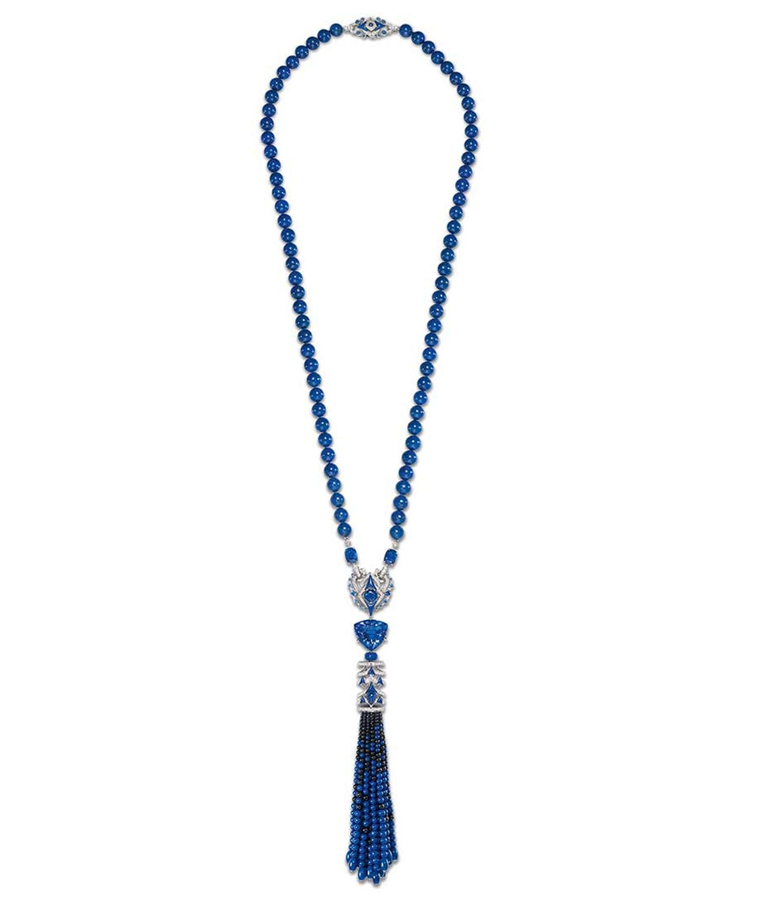 Chaumet Lumières d'Eau high jewellery necklace in white gold with a 45.64ct troidia-cut tanzanite, three cushion-cut sapphires, sapphires, sapphire beads, lapis lazuli beads and black spinel beads.