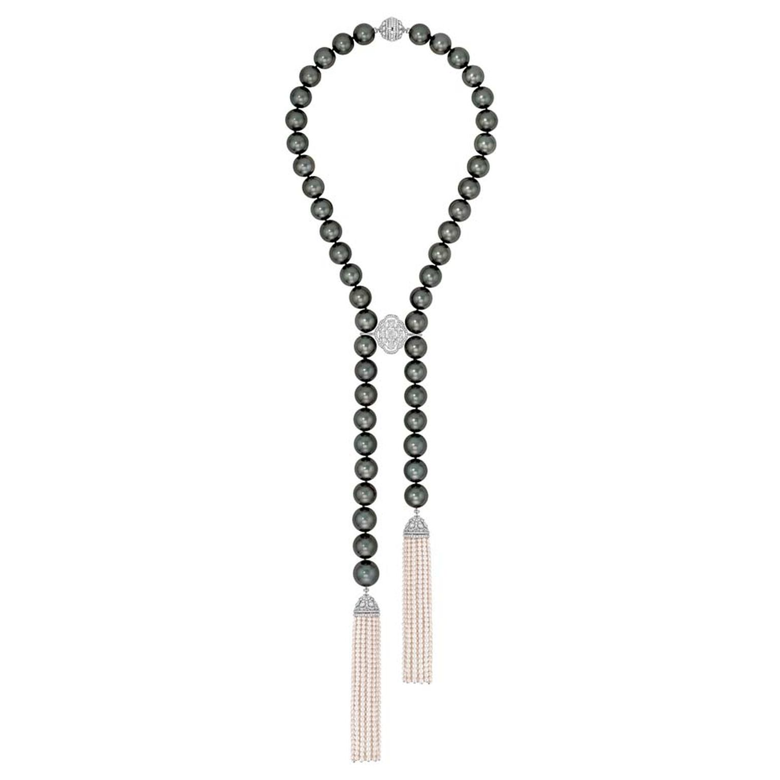Chanel Perles de Nuit necklace in white gold, from the Perles de Chanel collection, set with brilliant-, cushion-, pear- and oval-cut diamonds, 47 Tahitian cultured pearls and 1,362 Japanese cultured pearls.