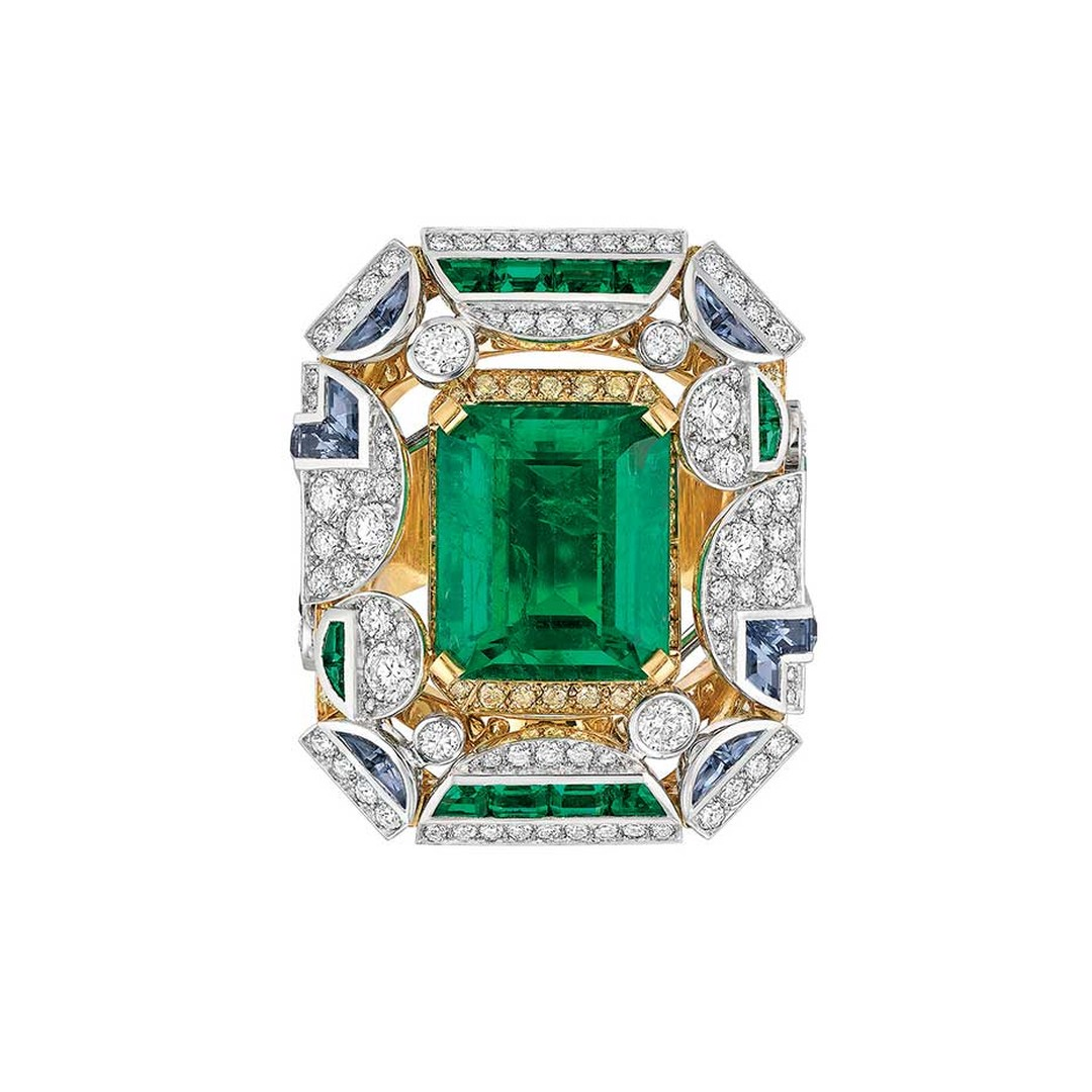 Chanel Café Society Morning in Vendome emerald ring.