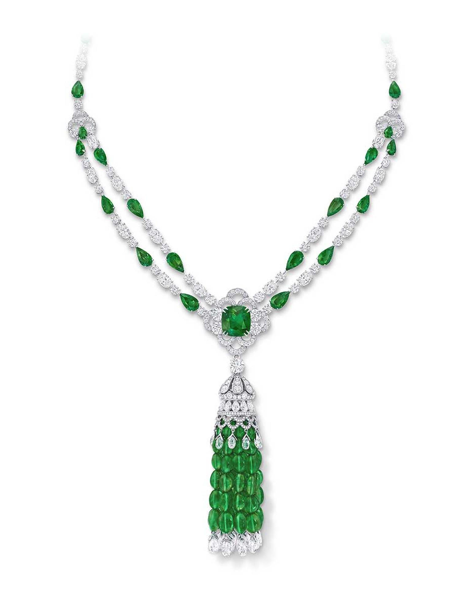 Graff emerald and diamond tassel necklace featuring a 10.03ct cushion-cut Colombian emerald.