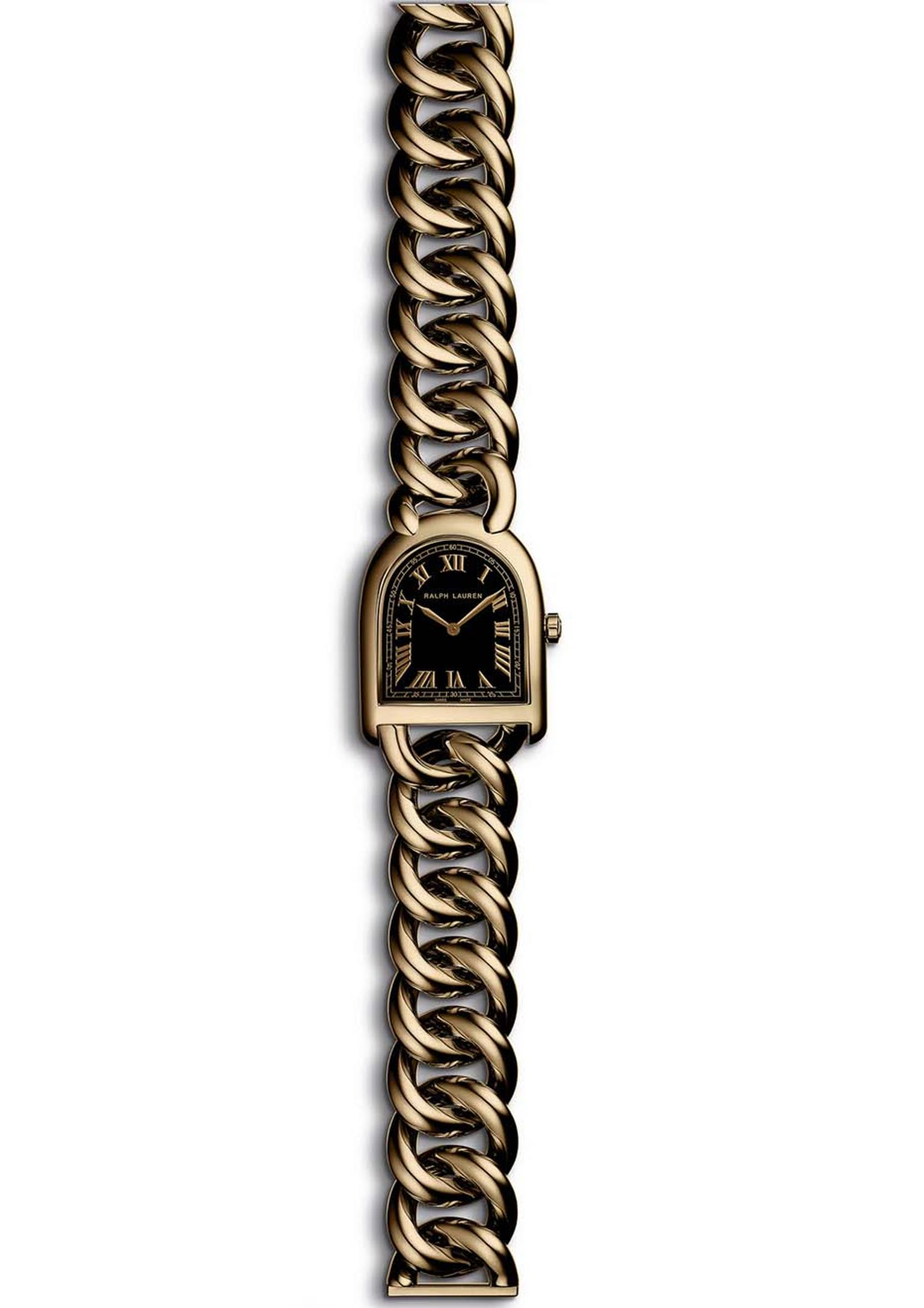 Ralph Lauren Stirrup Petite-Link watch in rose gold with a black lacquered dial and jewellery chain bracelet.