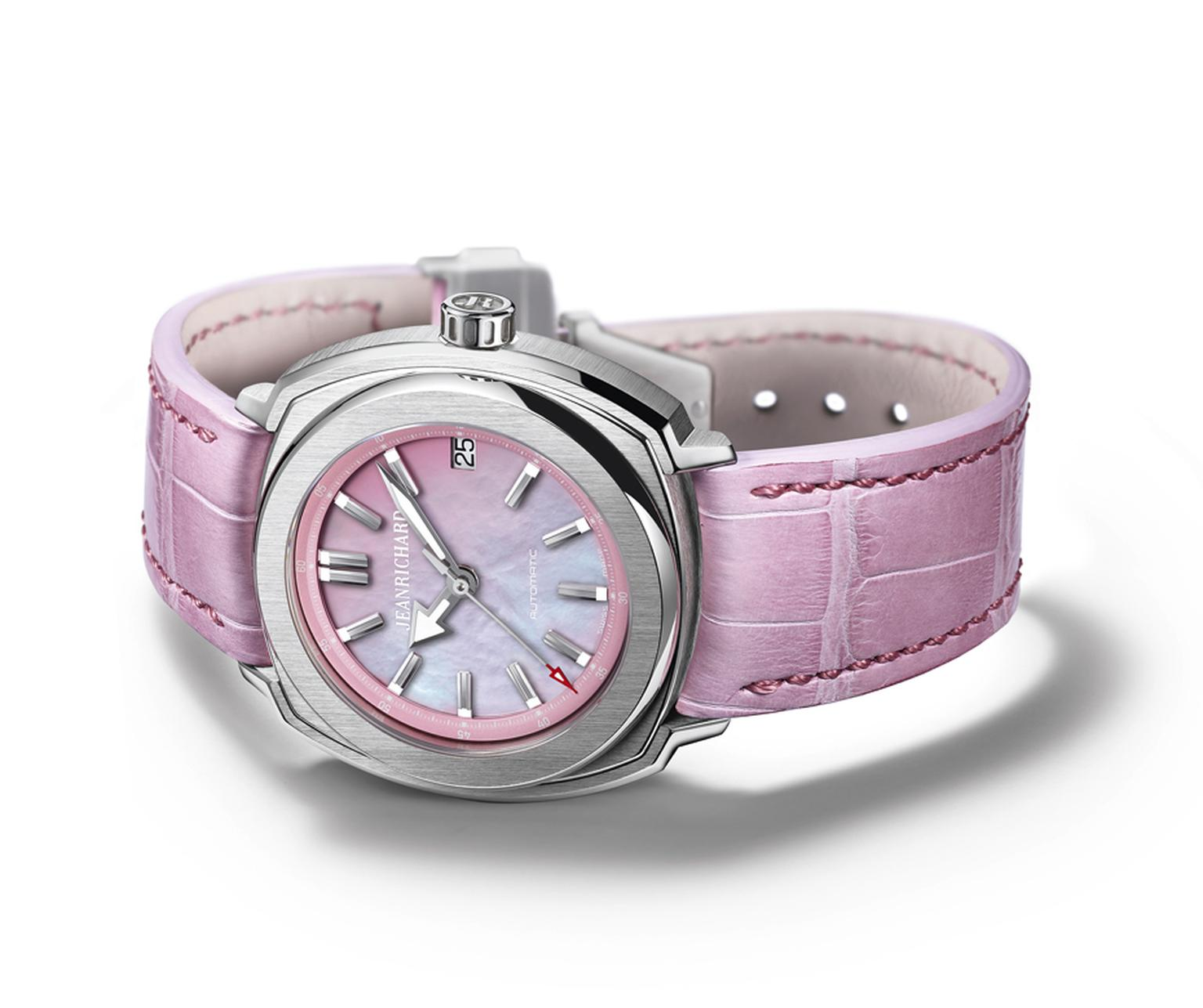 The JeanRichard Terrascope ladies' watch with a pink mother-of-peal dial, pink flange and pink alligator strap is proof positive that pink is not just a colour for Barbies. With its tiered, 39 mm stainless steel case, the watch fuses its innate sporty spi