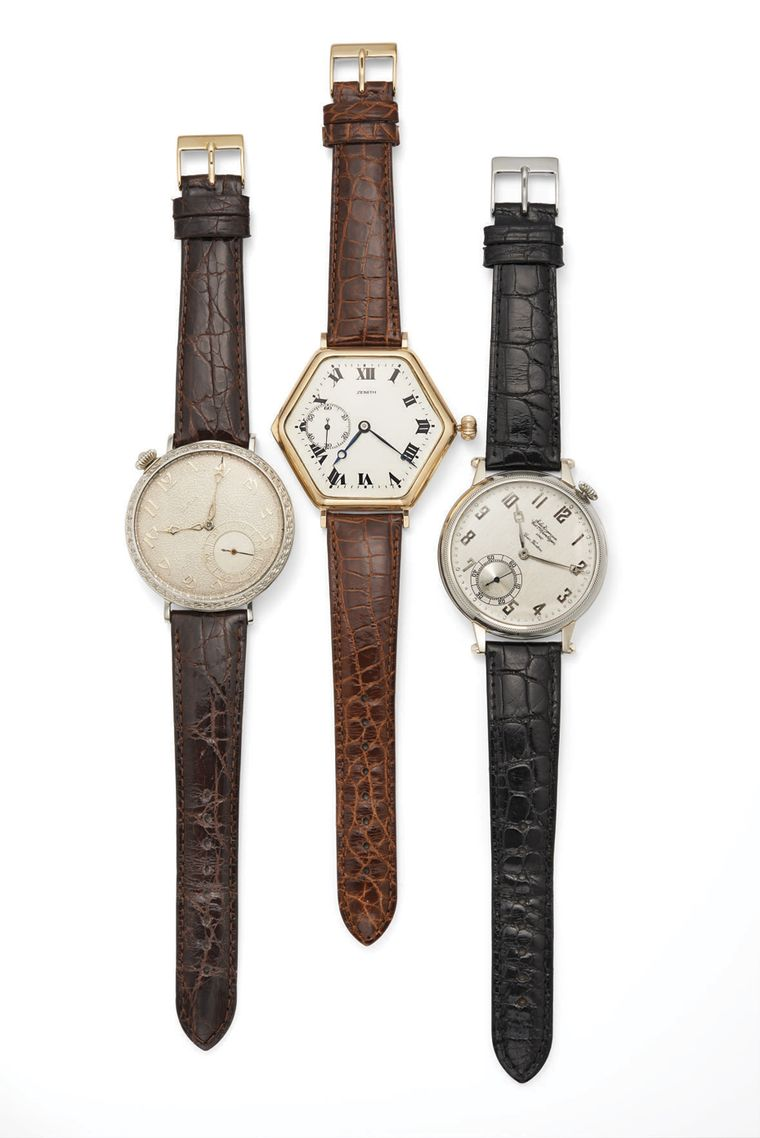 Fred Leighton converts pocket watches to wristwatches. Pictured here are three models by Elgin, Zenith and Jules Jurgensen from the Art Deco period.
