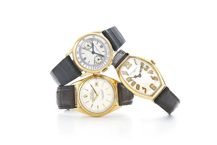 Vintage wristwatches restored by Fred Leighton include models like this Vacheron Constantin chronograph, circa 1937, a gold Art Deco tonneau-shaped watch by Patek Philippe, circa 1923 and a yellow gold Ovettone Roulette Date wristwatch by Rolex, circa 195