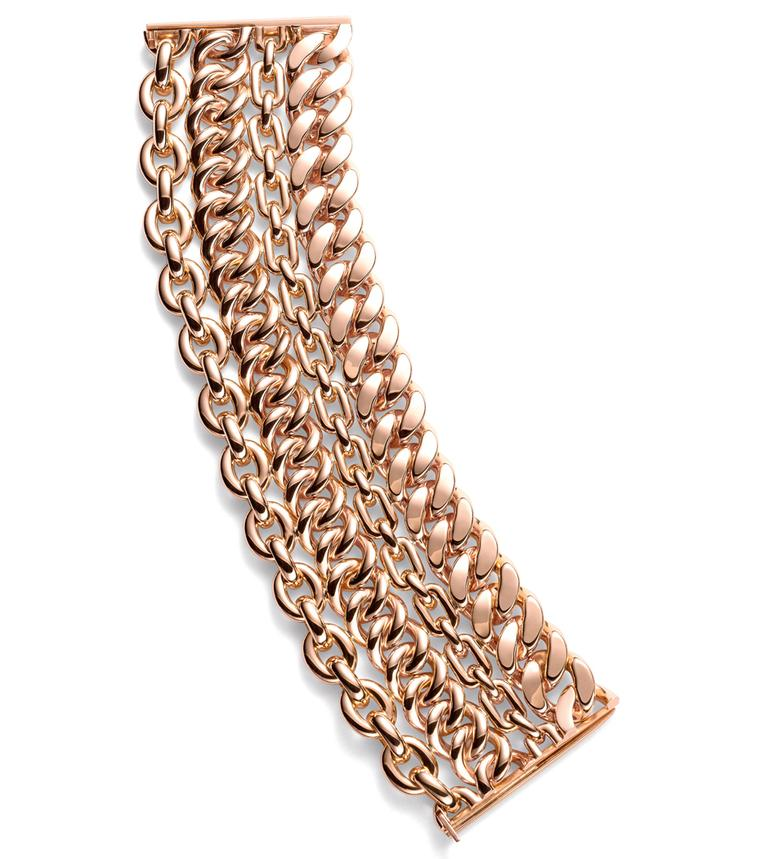 Ralph Lauren's Chunky 4-Chain Bracelet is crafted in warm 18k rose gold and features four independent rows of supple, different-styled chains, united by the clasp.