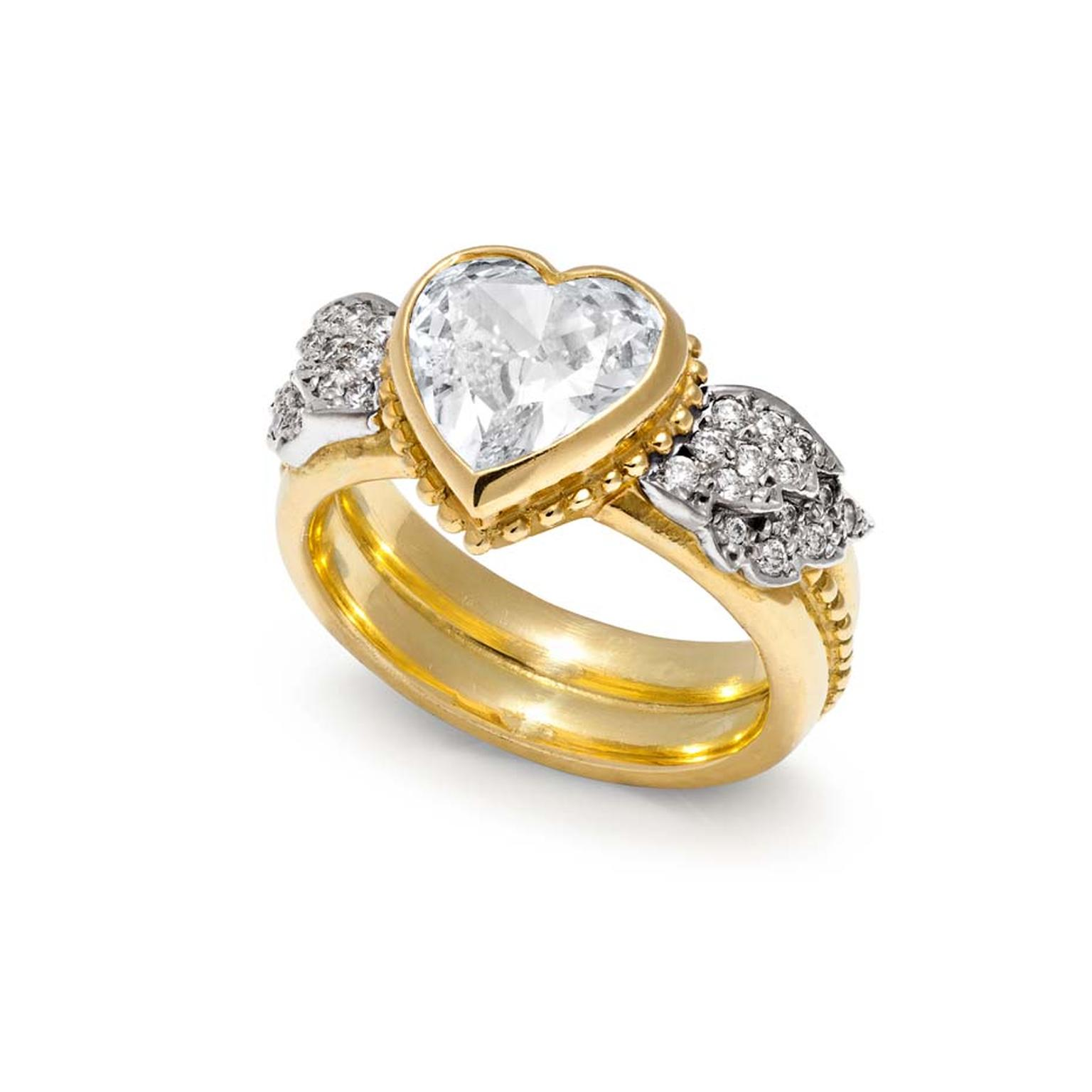 Sophie Harley London 2.50ct heart-shaped diamond engagement ring set in yellow gold with pavé diamond wings (£63,000).