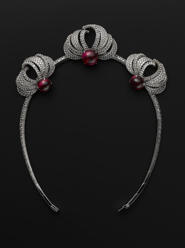 Reproduction of the 1955 Princess Grace diamond and ruby tiara, worn by Nicole Kidman in Grace of Monaco, which can be transformed into a necklace. (Photo credits: Vincent Wulveryck © Cartier)