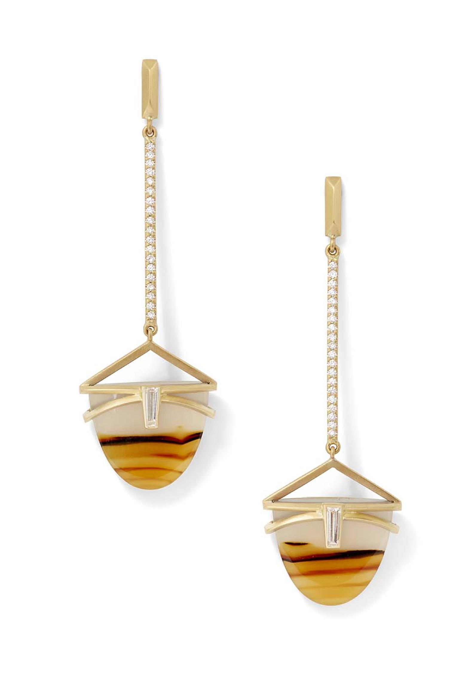 Monique Péan's Montana striped agate earrings in matte gold, from the Seto collection, are inlaid with diamond baguettes and inspired by the warm amber shades of a sunset.