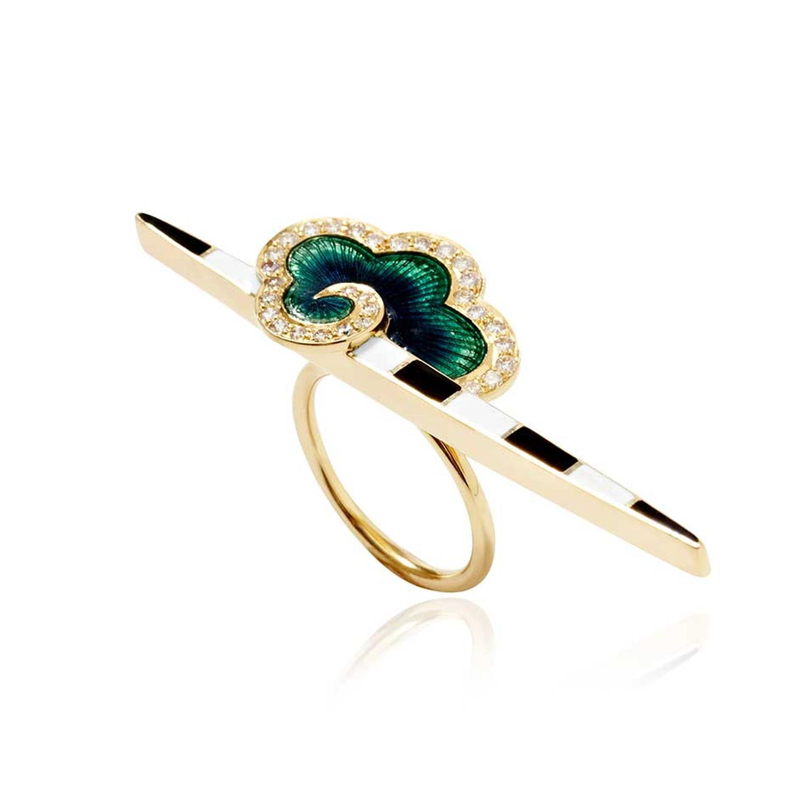 Holly Dyment Cloud Bar ring in yellow gold with black and white enamel stripes and an emerald green cloud surrounded by white diamonds.