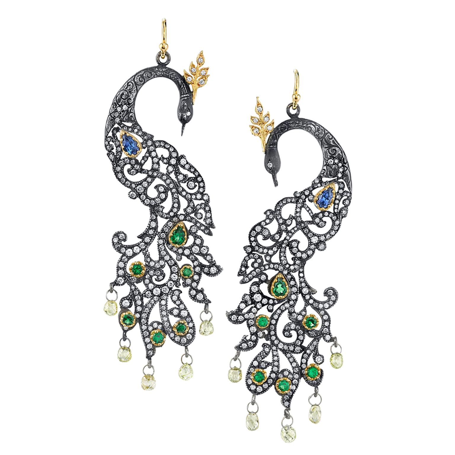 Arman Sarkisyan Peacock earrings with tanzanite, tsavorite, diamonds and oxidised silver.