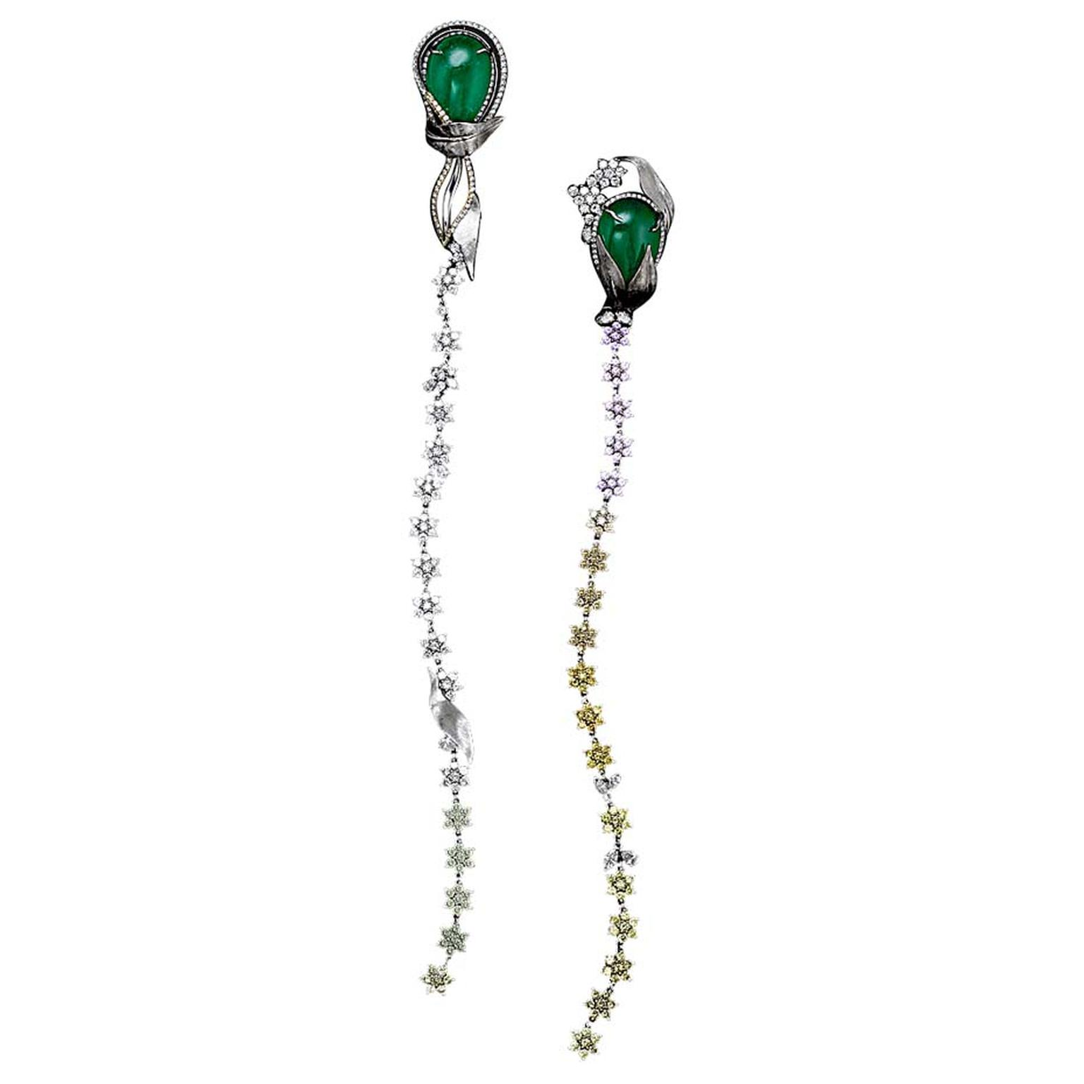 Alexandra Mor emerald and diamond Flower earrings.