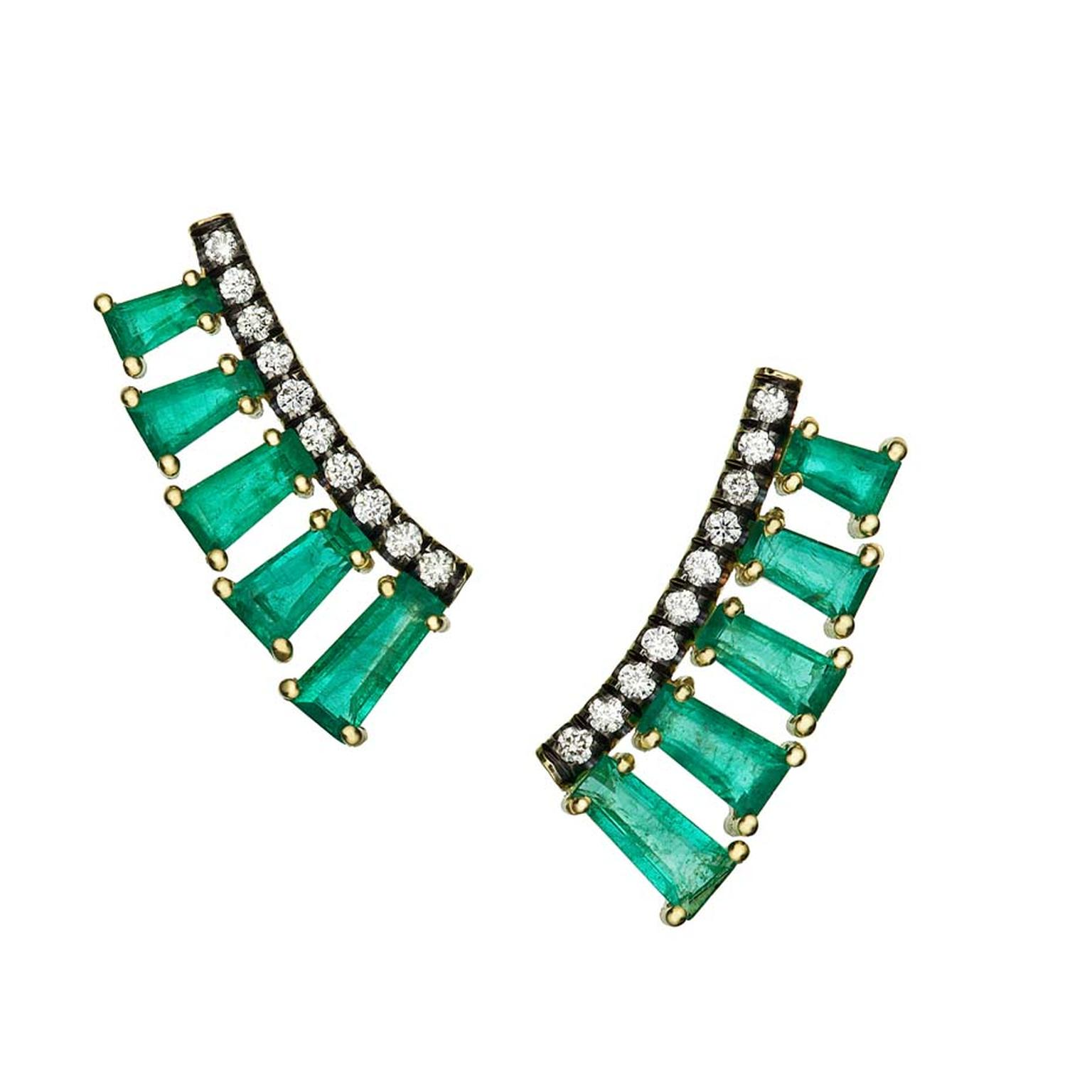 Jemma Wynne Covet ear cuffs with baguette-cut emeralds and brilliant-cut diamonds.