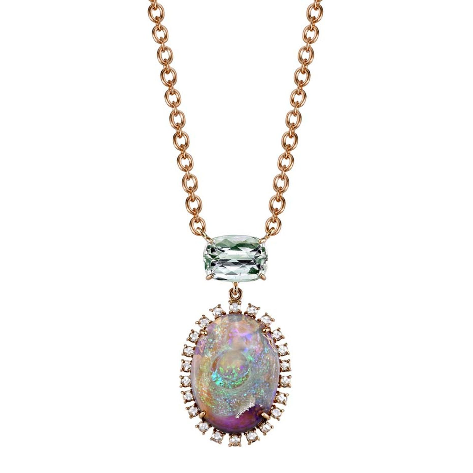 Irene Neuwirth rose gold one-of-a-kind necklace with green tourmaline, Lightning Ridge opal and diamonds ($9,770).