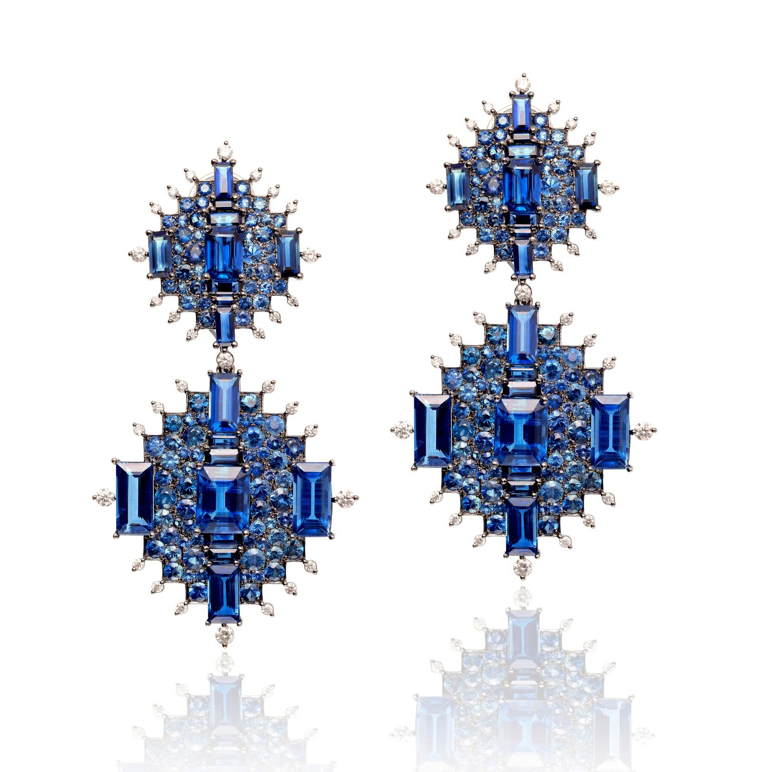 Nam Cho detachable and convertible earrings with kyanites, blue sapphires and diamonds.