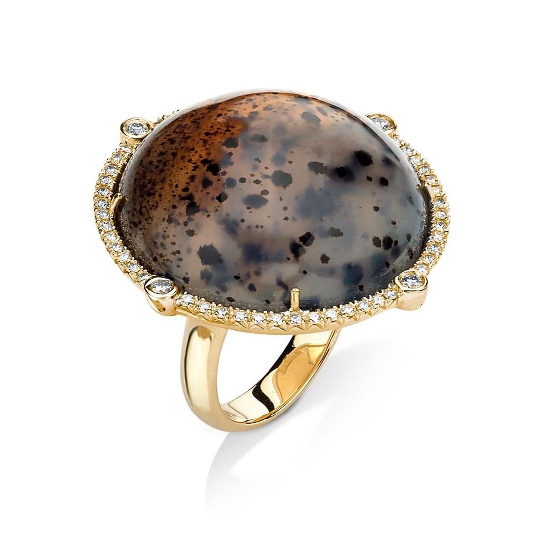 Pamela Huizenga gold ring with a 49.70ct Montana agate and diamond pavé.