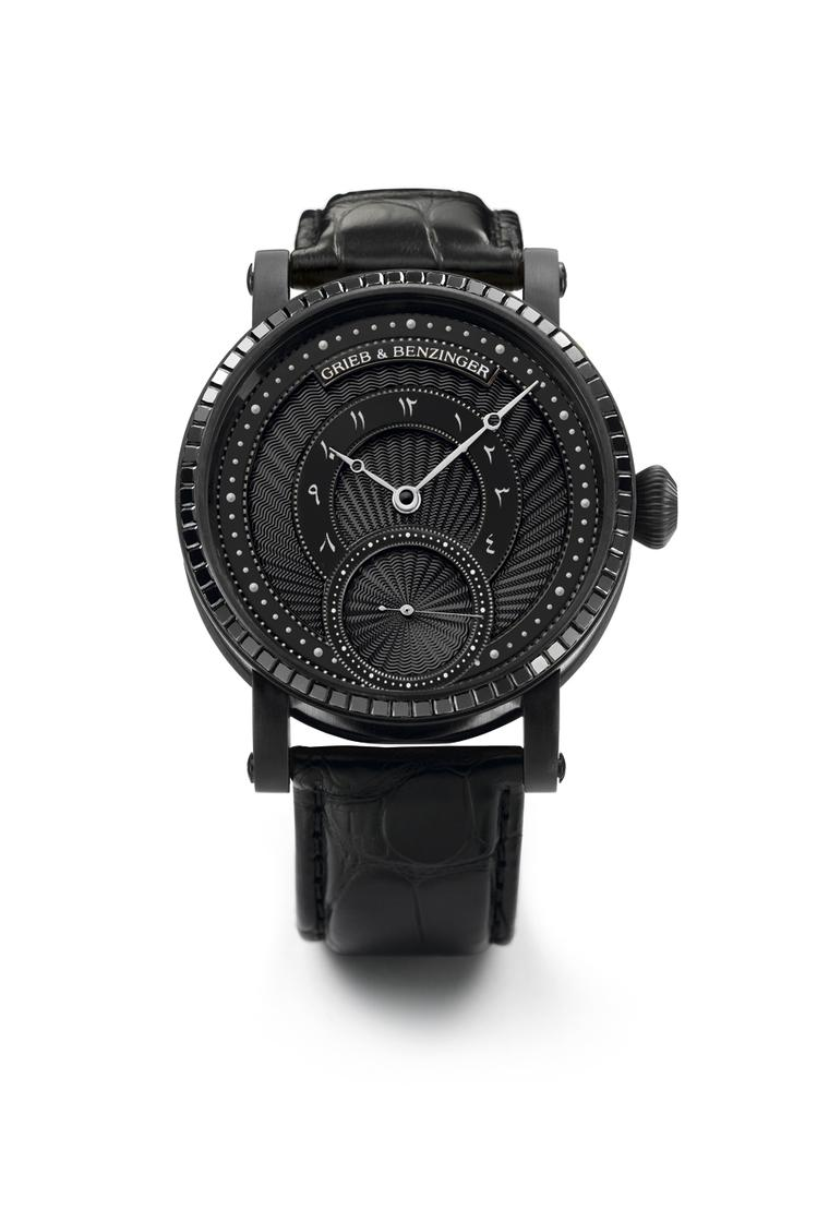 Grieb & Benzinger Pharos Centurion Imperial watch is an all-black handcrafted masterpiece from the elite German team of watchmakers. Housed in a 43mm blackened palladium case, the bezel is set with 66 black princess-cut diamonds and the movement has also