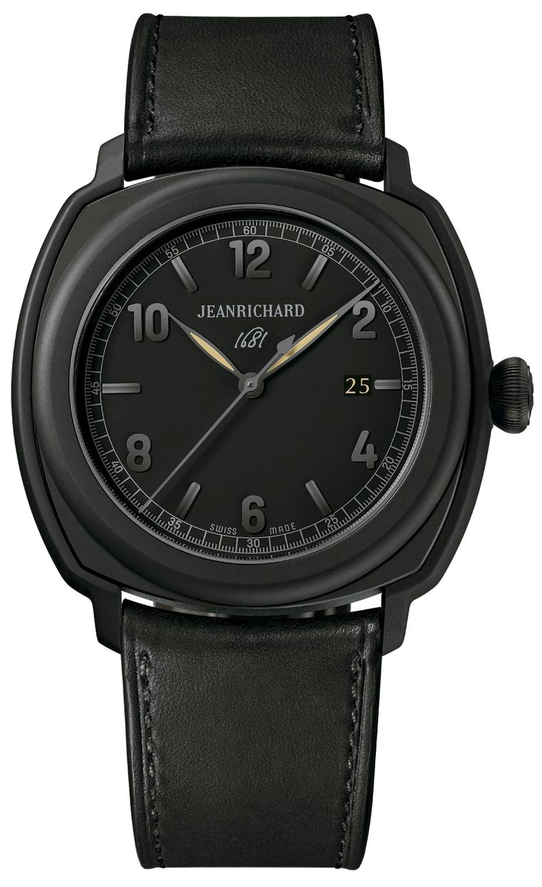 JeanRichard has created a New Year's Eve Black Tie Selection of black-on-black watches, including this handsome 1681 model with a sandblasted black DLC-coated stainless steel 44mm case and an in-house JR1000 self-winding movement.
