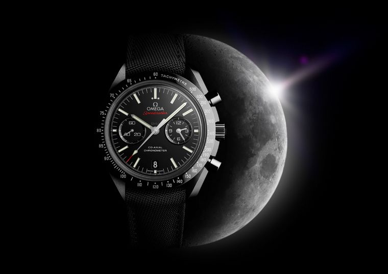 Omega Speedmaster Dark Side of the Moon watch featuring a 44.25mm case in black ceramic. White gold indices and hands bring an aura of Moonlight to this robust chronograph, powered by an in-house Omega Co-Axial movement with a full four-year warranty.