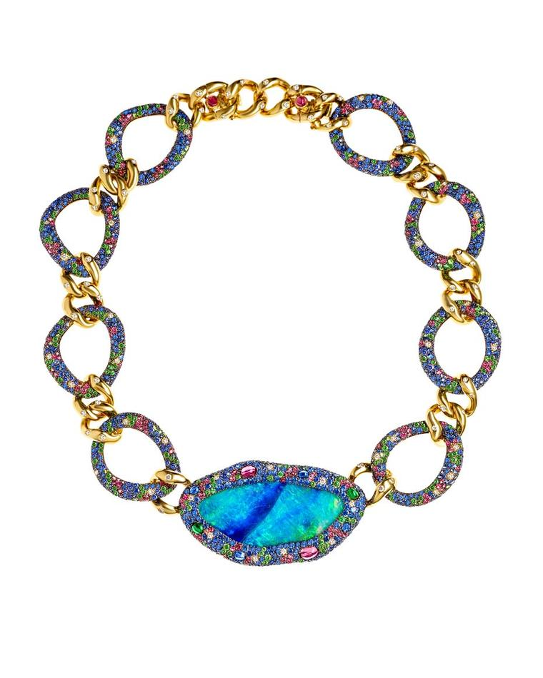 Margot McKinney collier necklace featuring an 86.32ct opal with a halo and links set with sapphires, tourmalines, peridots and diamonds.
