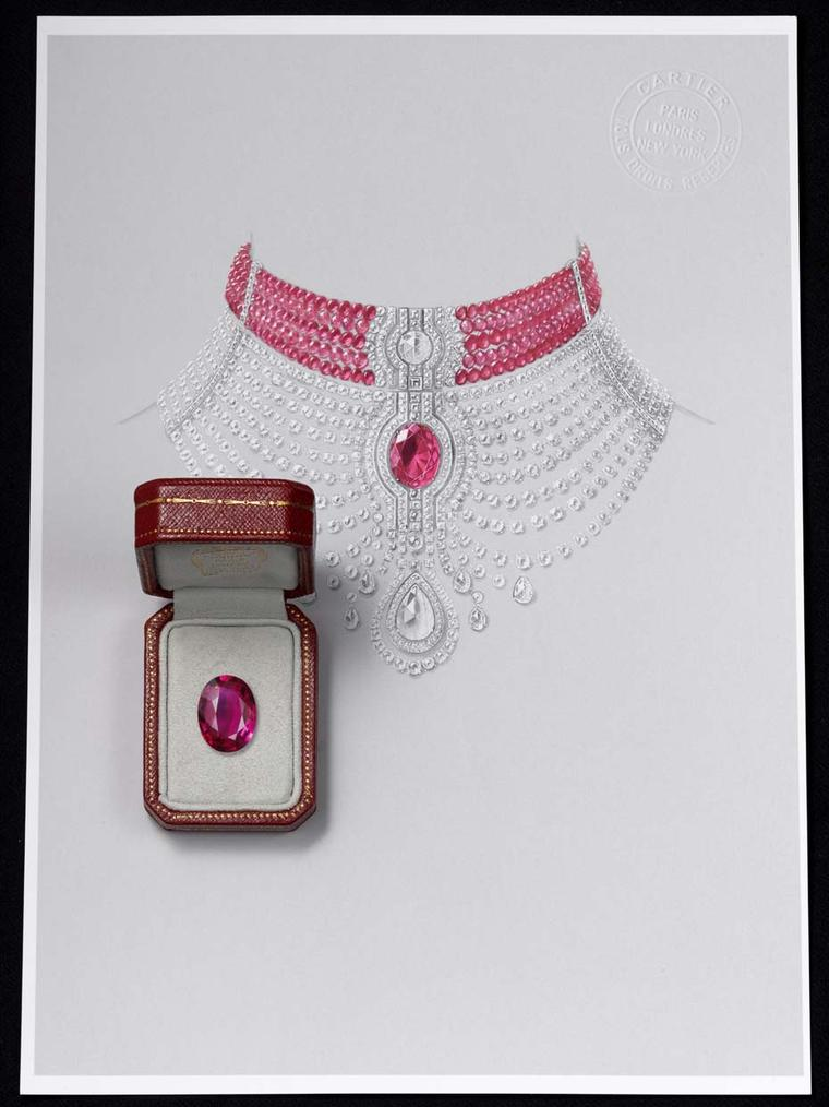 The Cartier Reine Makéda ruby necklace, displayed at the 2014 Biennale de Paris, can also be worn as two separate pieces of jewellery: a ruby choker and a diamond necklace.