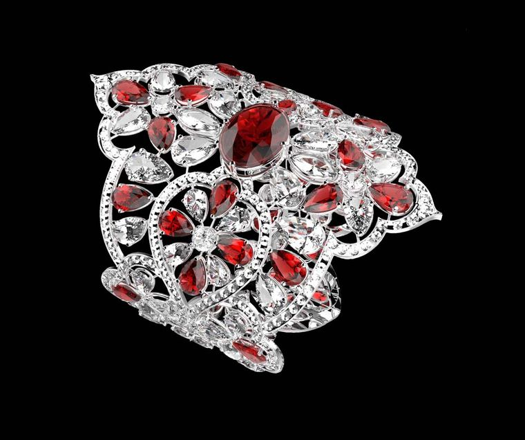 Orlov's €4 million diamond and ruby bracelet featuring a central 12.00ct oval ruby as well as an intricate openwork lace design set with fancy-cut diamonds and Burmese rubies.