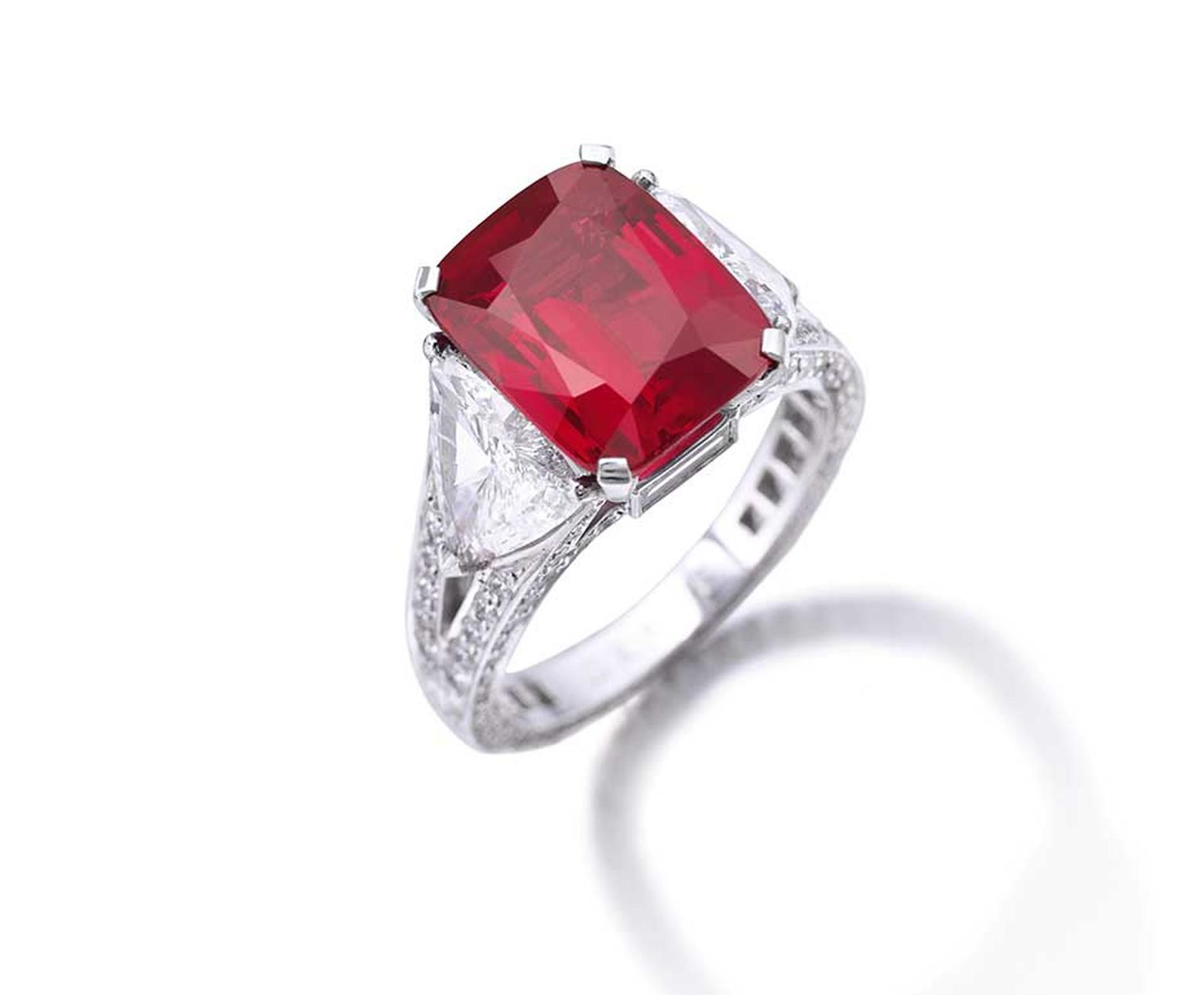 The 8.62 carat Graff ruby ring, from the collection of Greek financier Dimitri Mavrommatis, which set a new world record at auction for a ruby at Sotheby's Geneva in December 2014 when it sold for $8.6 million.