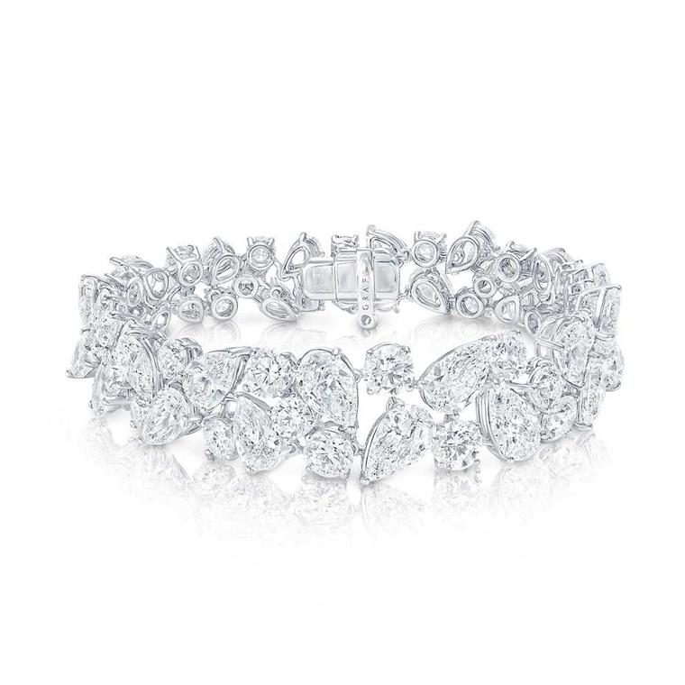 Graff Rhythm collection platinum bracelet featuring brilliant, pear and baguette-shaped diamonds.