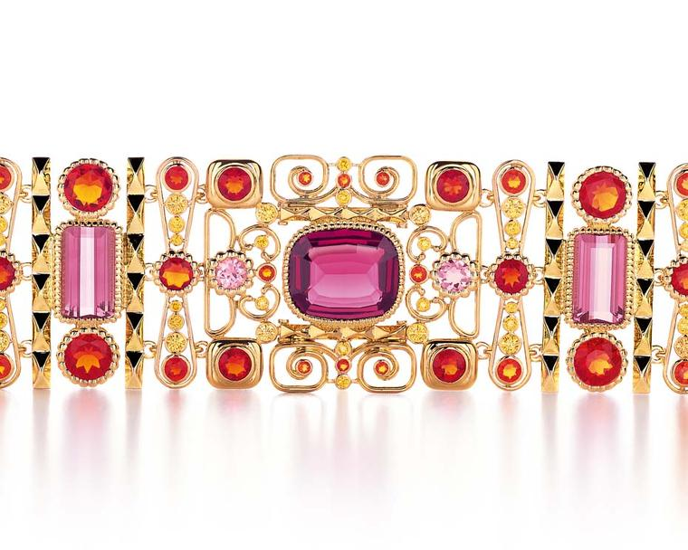 Tiffany bracelet set with yellow diamonds, fire opals, tourmalines and a central cushion-cut garnet, from the 2014 Book Book collection.